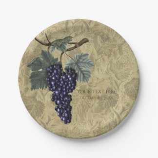 Purple Grapes Vineyard Wedding Bridal Party 7 Inch Paper Plate