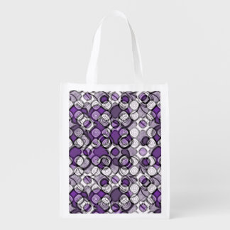 Purple, Gray and White Abstract Black Circles