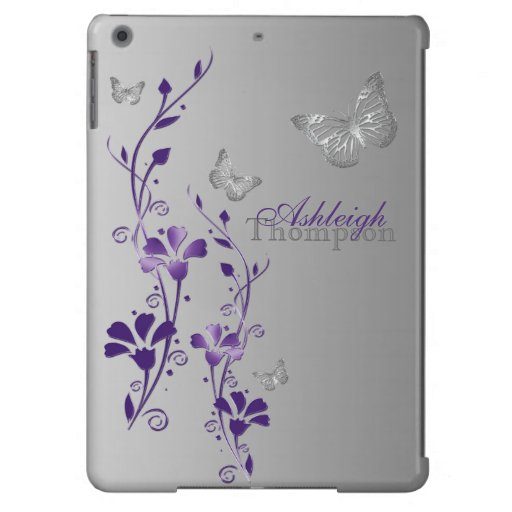 Purple, Gray Butterfly Floral iPad Air Case