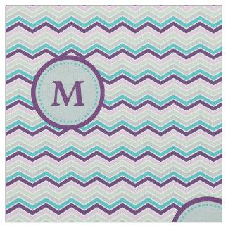 Purple Gray Chevron Monogram Fabric