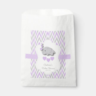 Purple & Gray Elephant Baby Shower 2 Favour Bags