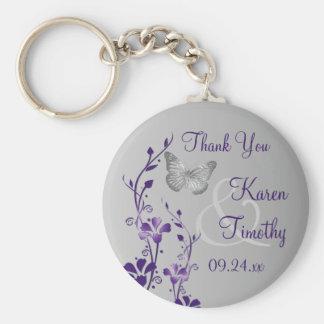 Purple, Gray Floral Butterflies Wedding Favor Key Ring