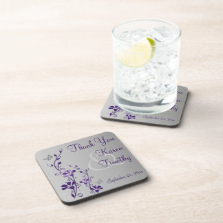 Purple Gray Floral Wedding Coaster Set (6)