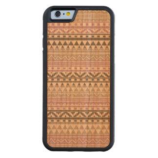 Purple Gray Geometric Aztec Tribal Print Pattern Carved Cherry iPhone 6 Bumper Case