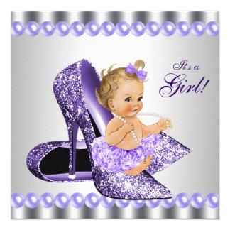 Purple Gray High Heel Shoe Baby Shower 13 Cm X 13 Cm Square Invitation Card