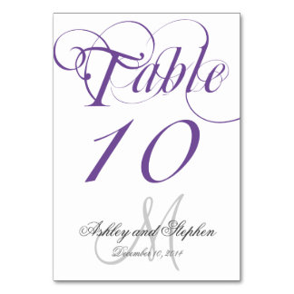 Purple Gray Monogram Wedding Table Number Card Table Cards