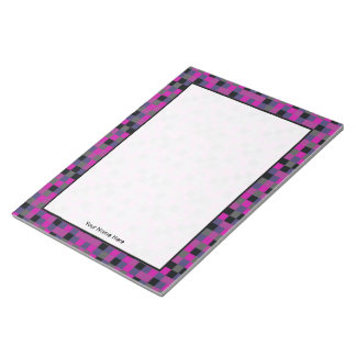 Purple Gray Navy Black Color Blocks Personalized Notepad