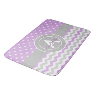 Purple Gray Polka Dot Chevron Bath Mat