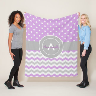 Purple Gray Polka Dot Chevron Fleece Blanket