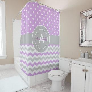 Purple Gray Polka Dot Chevron Shower Curtain
