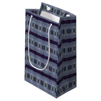 purple gray striped gift bag