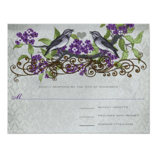 Purple & Gray Vintage Birds Damask Wedding Invite
