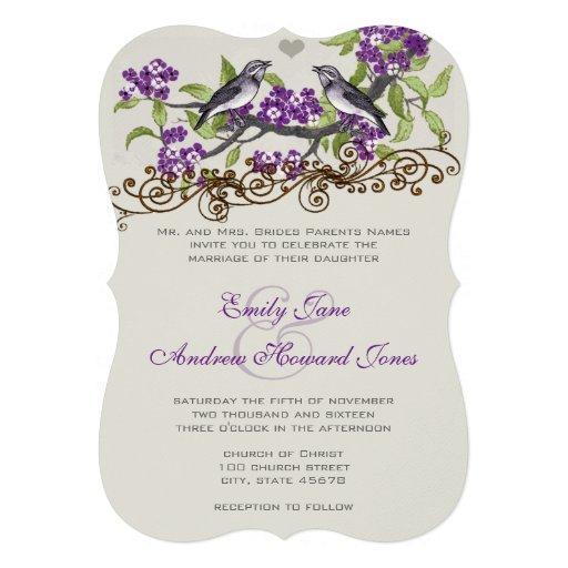 Purple & Gray Vintage Love Birds Wedding Invite