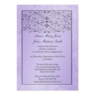 "Purple gray wedding anniversary engagement 5"" x 7"" invitation card"