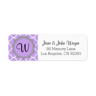 Purple Gray White Contemporary Monogram Label Return Address Label