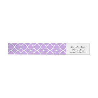 Purple Gray White Contemporary Quatrefoil Wraparound Return Address Label