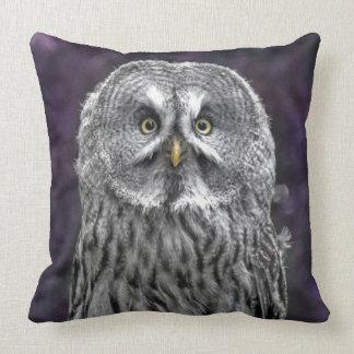 Purple Great Grey Owl Throw Pillow