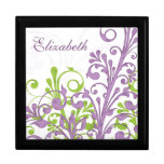 Purple Green Abstract Floral Personalised Jewelry Box