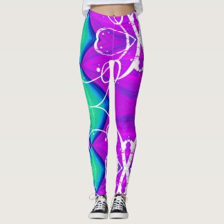 Purple, green, and blue argyle and ribbons leggings