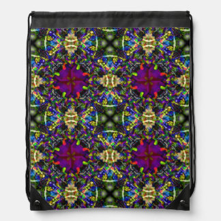Purple Green and Blue Mandala Fractal Pattern Drawstring Bag