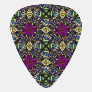 Purple Green and Blue Mandala Fractal Pattern Guitar Pick