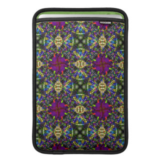 Purple Green and Blue Mandala Fractal Pattern Sleeve For MacBook Air