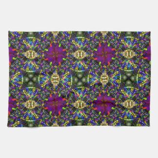 Purple Green and Blue Mandala Fractal Pattern Tea Towel