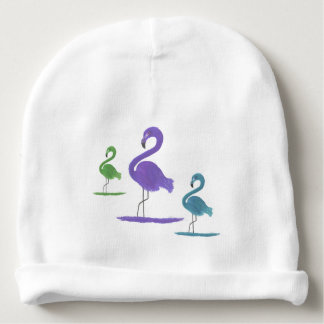 Purple, Green, and Teal Flamingos Art Baby Beanie