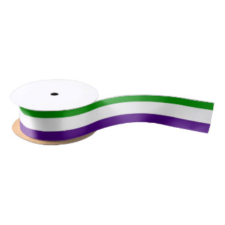 purple green and white bands satin ribbon