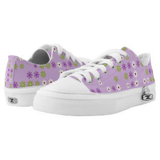 purple green and white flowers low tops