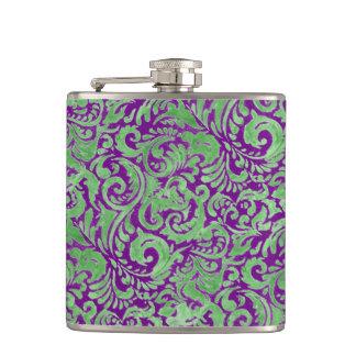 Purple/Green Batik Inspired Throw Pillow Hip Flask