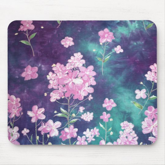 Purple Green Batik Texture Mouse Mat