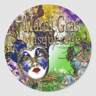 Purple green birthday masquerade mask classic round sticker