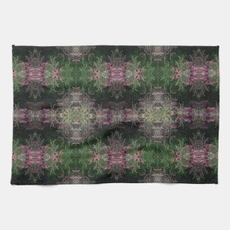 Purple green black damask kitchen towel