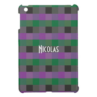 Purple Green Black Gingham Pattern custom Name iPad Mini Case