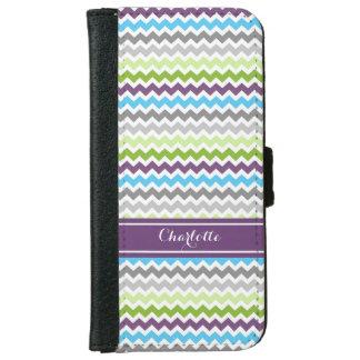 Purple Green Blue Chevron Pattern Monogram iPhone 6 Wallet Case