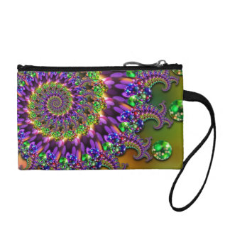 Purple & Green Bokeh Fractal Pattern Coin Purse