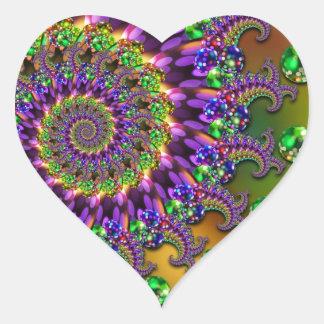 Purple & Green Bokeh Fractal Pattern Heart Sticker