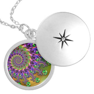 Purple & Green Bokeh Fractal Pattern Round Locket Necklace
