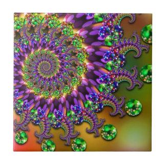 Purple & Green Bokeh Fractal Tile