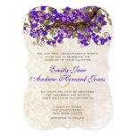 Purple & Green Cherry Blossom Tea Stain Invitation