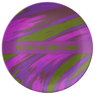 Purple Green Color Swish Abstract Plate
