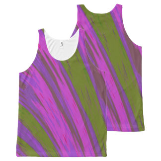 Purple Green  Color Swish All-Over Print Tank Top
