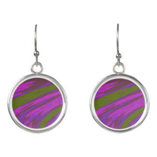 Purple Green Color Swish Earrings