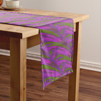 Purple Green Color Swish Long Table Runner