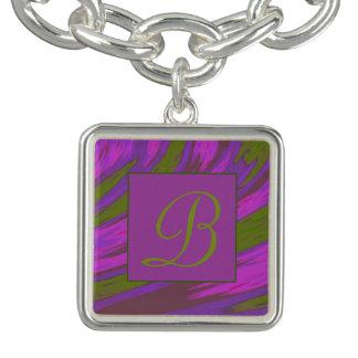 Purple Green Color Swish Monogramd