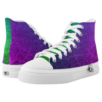 Purple Green Colourful High Top Shoes Printed Shoes