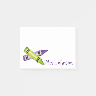 Purple Green Crayons School Art Teacher Gift Post-it Notes