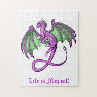 Purple & Green Dragon with Paws instead of Talons Jigsaw Puzzle