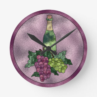 Purple Green Faux Stained Glass Wine and Grapes Wallclock
